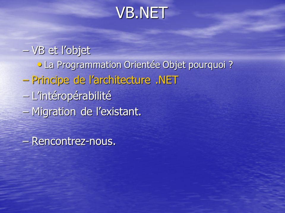 VB.NET VB et l'objet Principe de l'architecture .NET