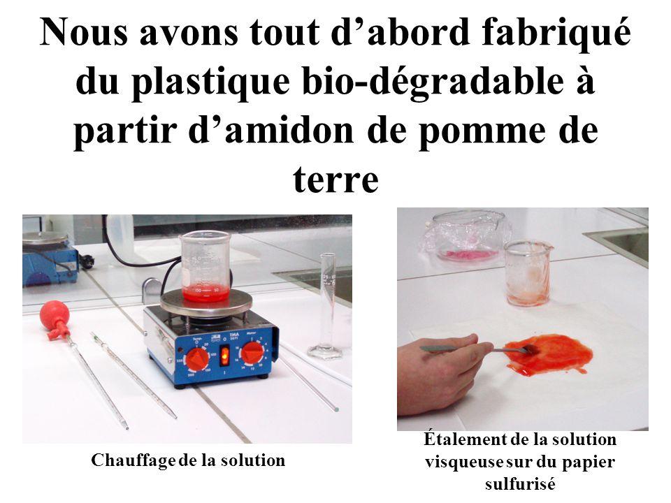 Étalement de la solution visqueuse sur du papier sulfurisé