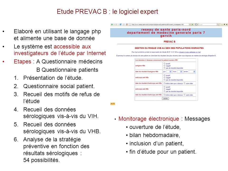 Etude PREVAC B : le logiciel expert