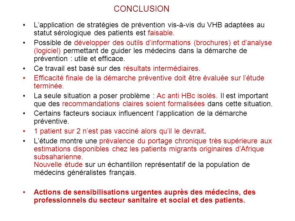 CONCLUSION L'application de stratégies de prévention vis-à-vis du VHB adaptées au statut sérologique des patients est faisable.