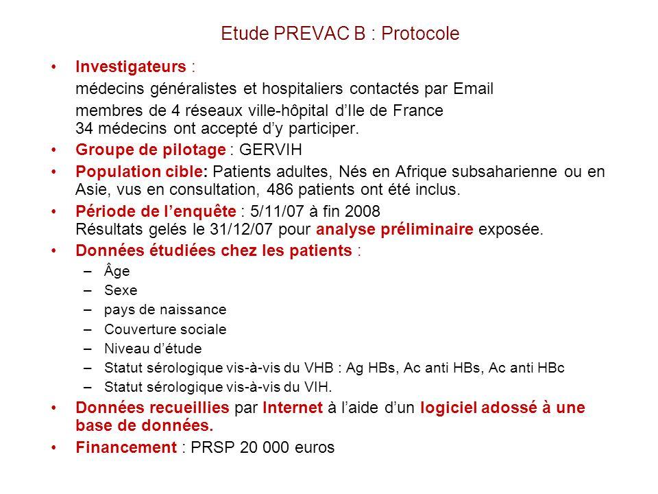 Etude PREVAC B : Protocole