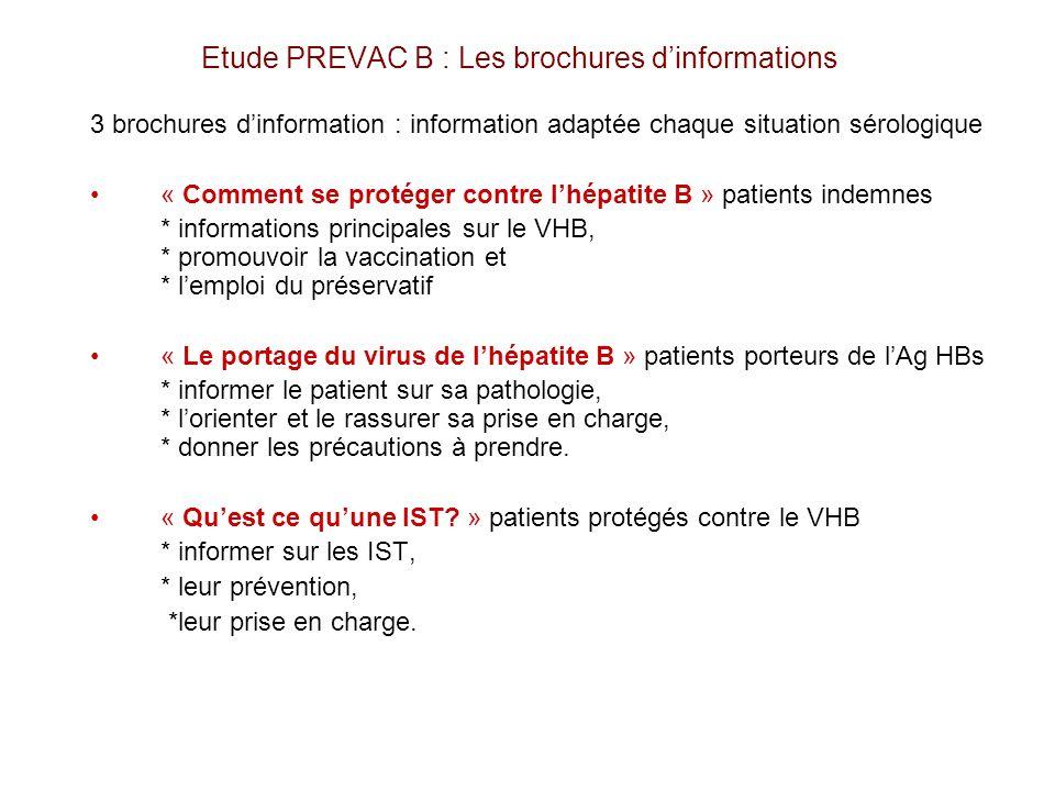 Etude PREVAC B : Les brochures d'informations