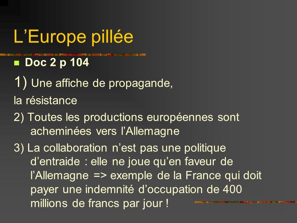 L'Europe pillée 1) Une affiche de propagande, Doc 2 p 104