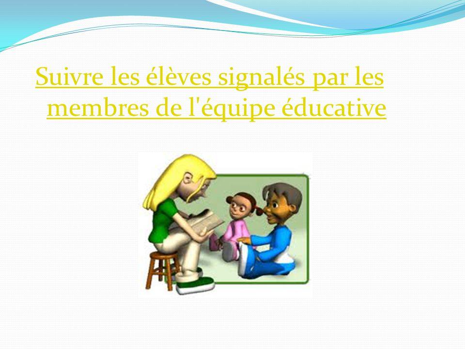 Suivre les élèves signalés par les membres de l équipe éducative