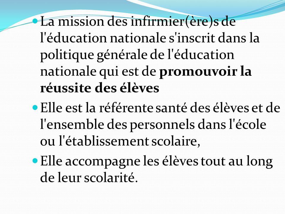 La mission des infirmier(ère)s de l éducation nationale s inscrit dans la politique générale de l éducation nationale qui est de promouvoir la réussite des élèves