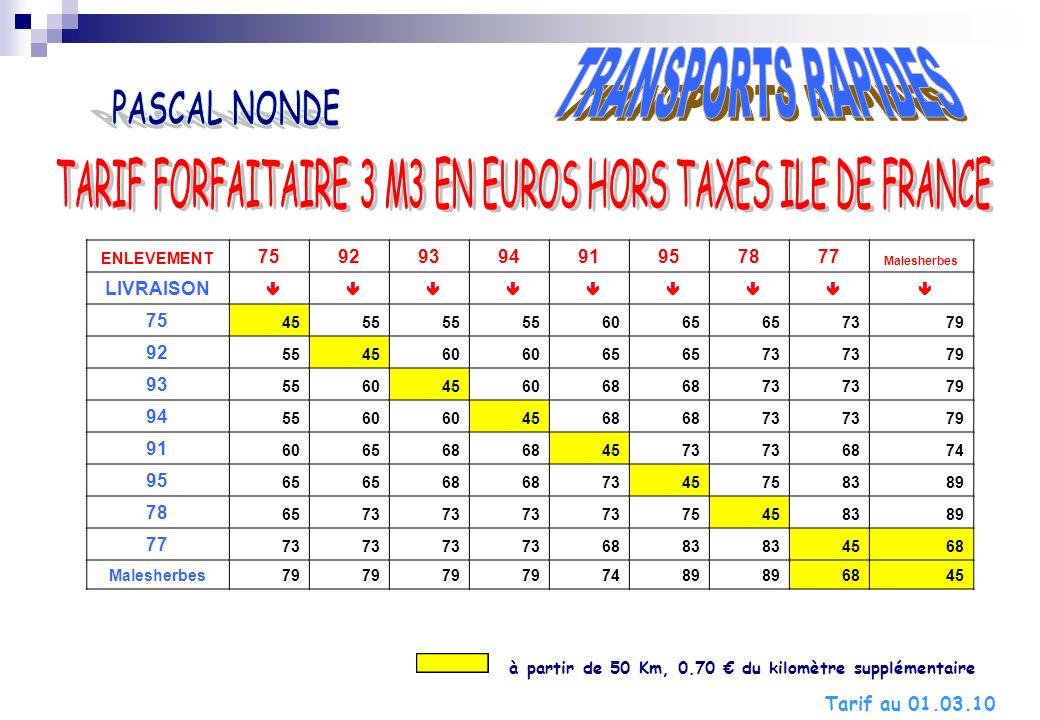 TARIF FORFAITAIRE 3 M3 EN EUROS HORS TAXES ILE DE FRANCE
