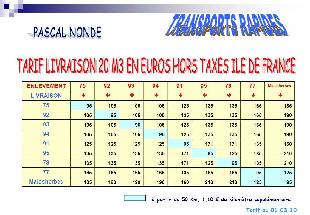 TARIF LIVRAISON 20 M3 EN EUROS HORS TAXES ILE DE FRANCE