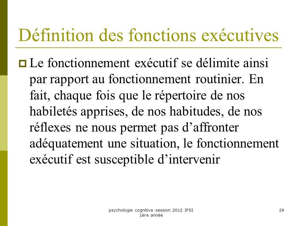 Définition des fonctions exécutives