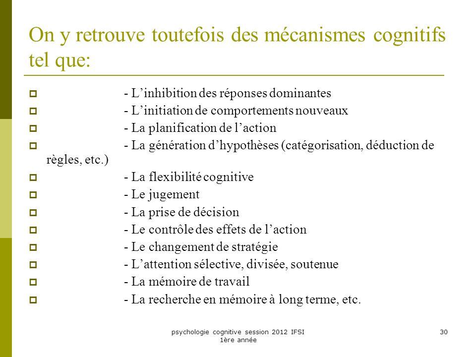 On y retrouve toutefois des mécanismes cognitifs tel que: