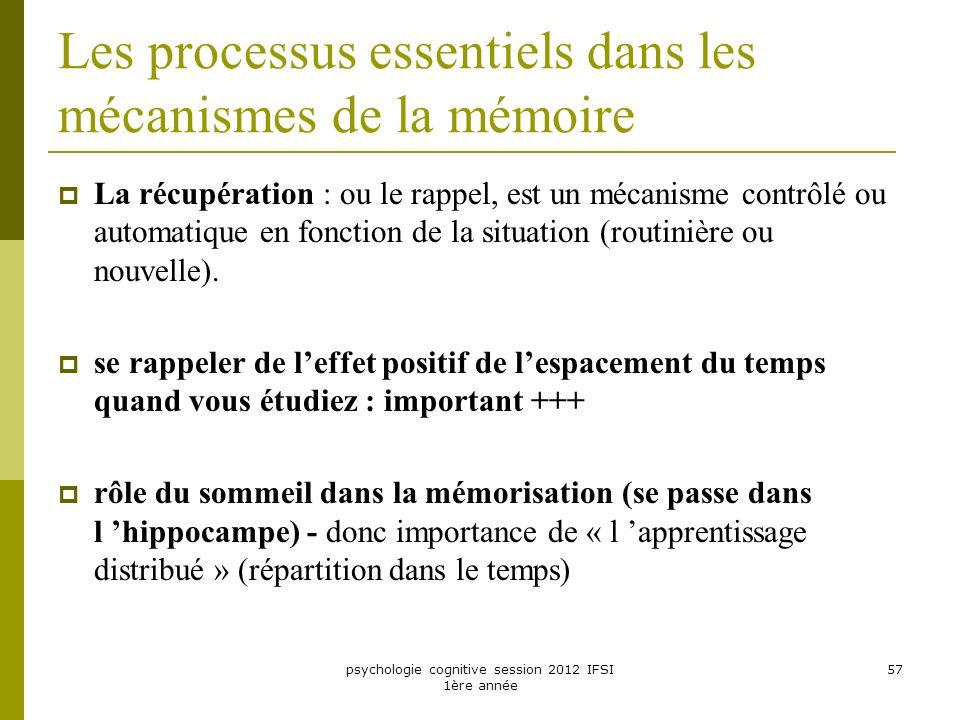 Les processus essentiels dans les mécanismes de la mémoire