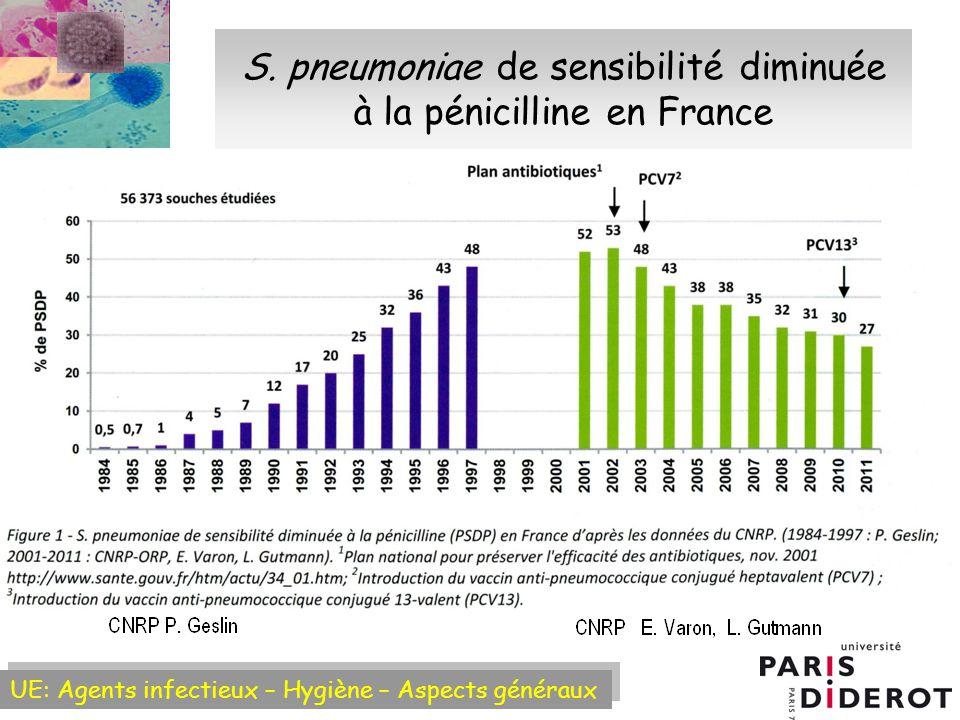S. pneumoniae de sensibilité diminuée à la pénicilline en France