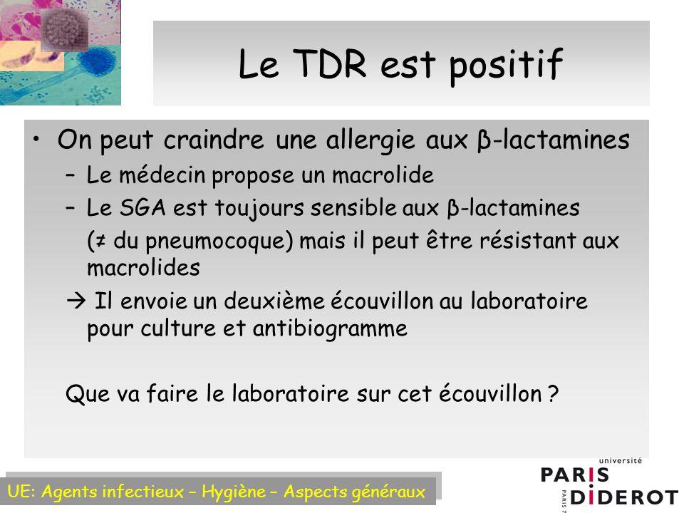 Le TDR est positif On peut craindre une allergie aux β-lactamines