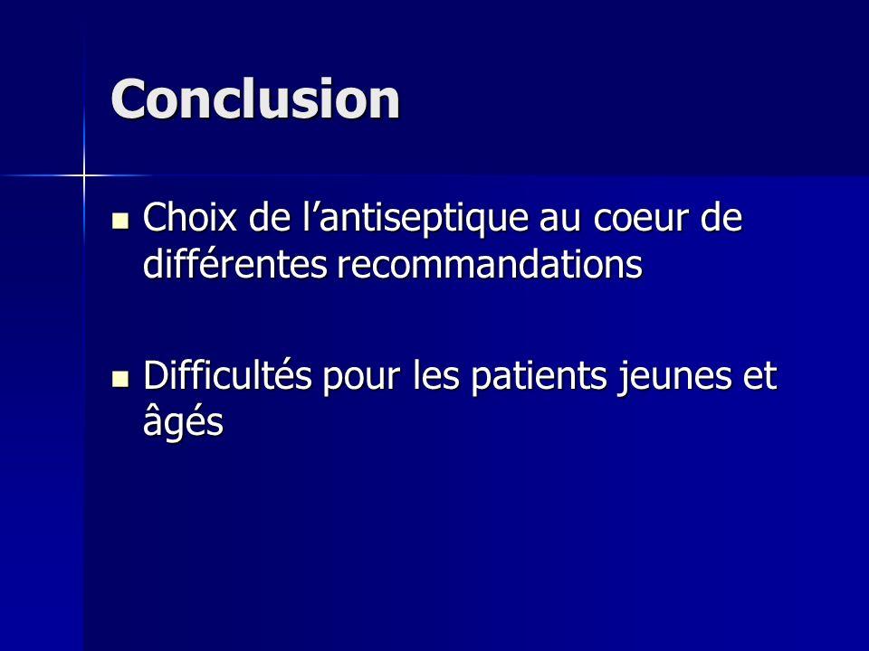 Conclusion Choix de l'antiseptique au coeur de différentes recommandations.