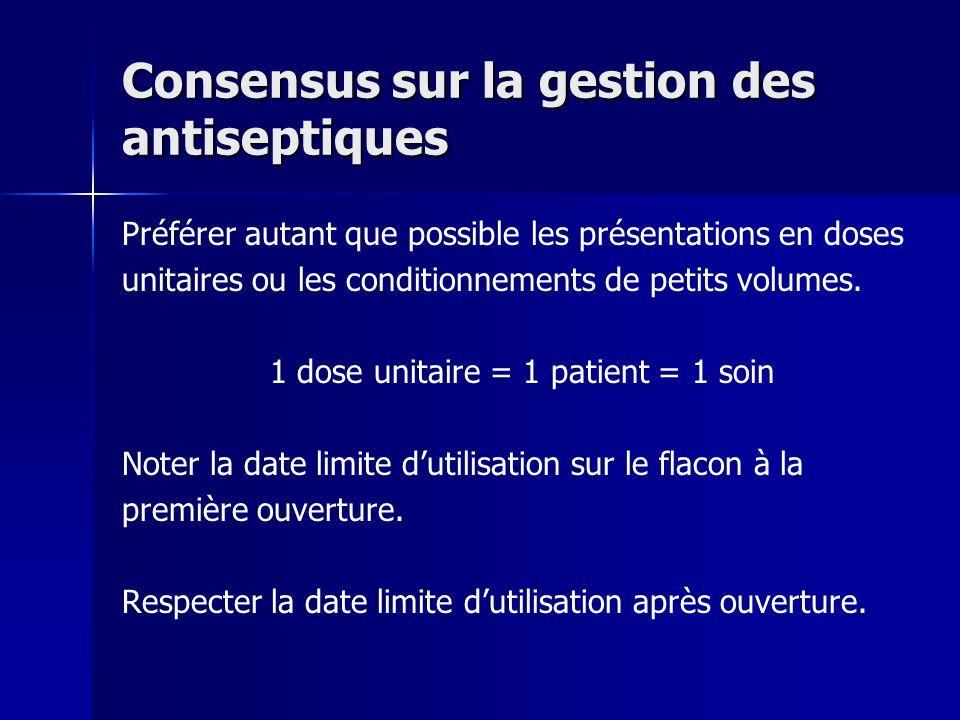 Consensus sur la gestion des antiseptiques