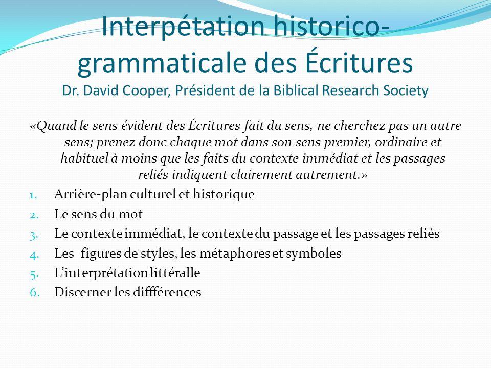 Interpétation historico-grammaticale des Écritures Dr