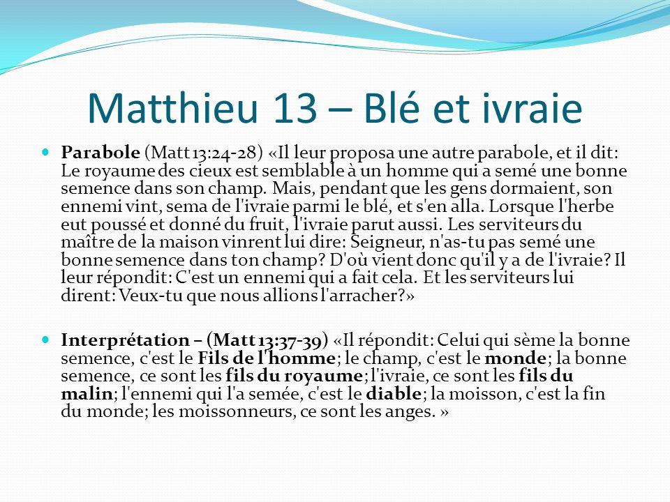 Matthieu 13 – Blé et ivraie