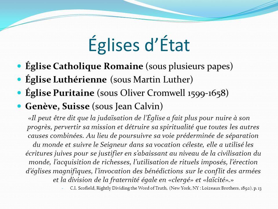 Églises d'État Église Catholique Romaine (sous plusieurs papes)