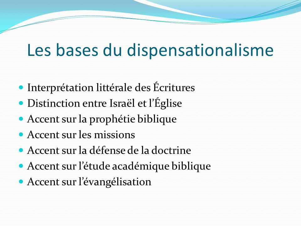 Les bases du dispensationalisme