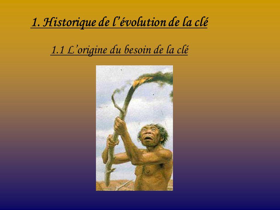 1. Historique de l'évolution de la clé