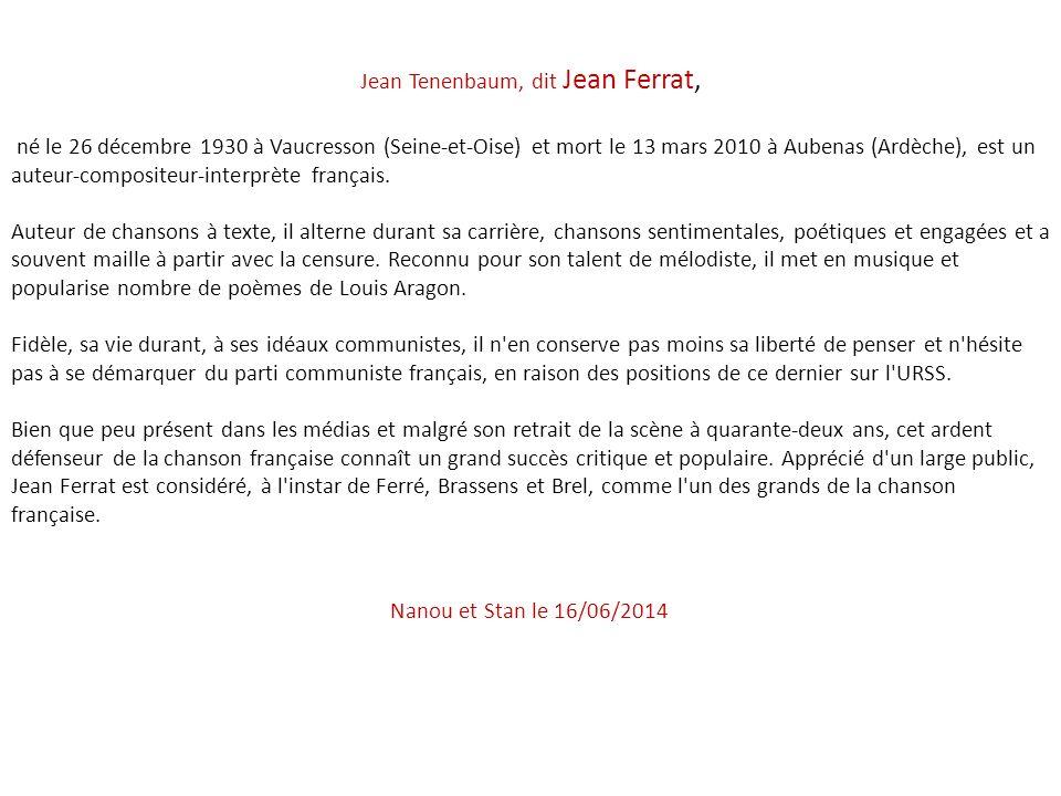 Jean Tenenbaum, dit Jean Ferrat,