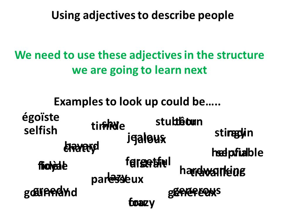 Using adjectives to describe people Examples to look up could be…..
