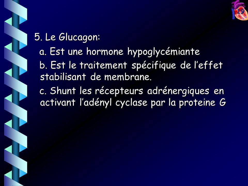 5. Le Glucagon: a. Est une hormone hypoglycémiante