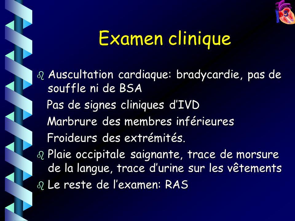 Examen clinique Auscultation cardiaque: bradycardie, pas de souffle ni de BSA. Pas de signes cliniques d'IVD.