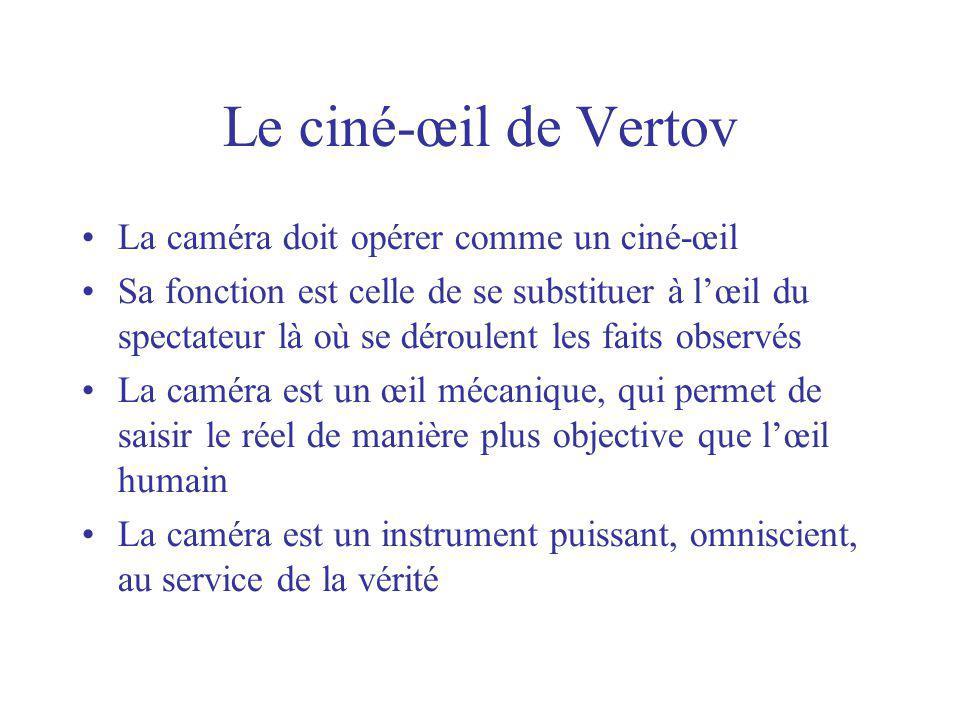 Le ciné-œil de Vertov La caméra doit opérer comme un ciné-œil