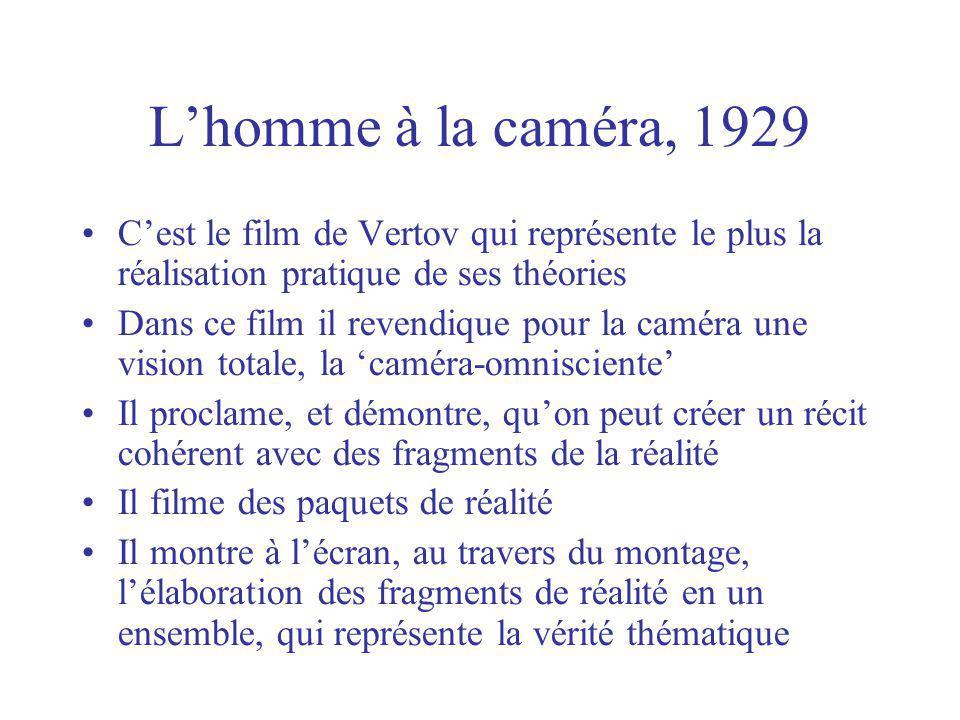 L'homme à la caméra, 1929 C'est le film de Vertov qui représente le plus la réalisation pratique de ses théories.