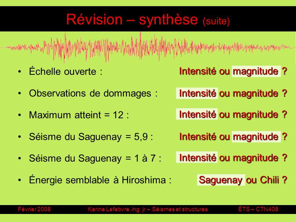 Révision – synthèse (suite)