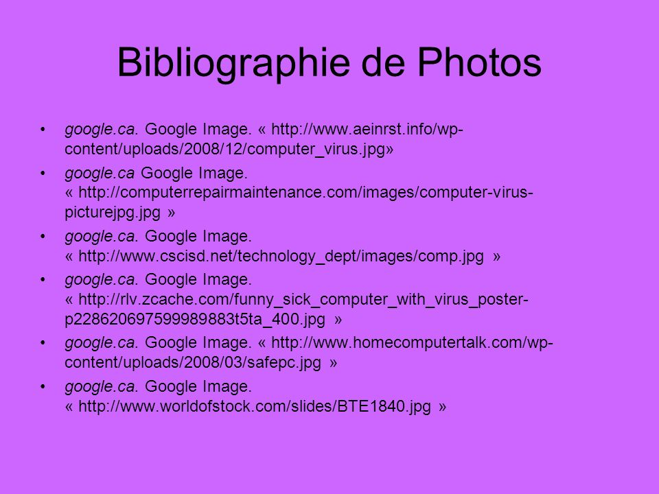 Bibliographie de Photos