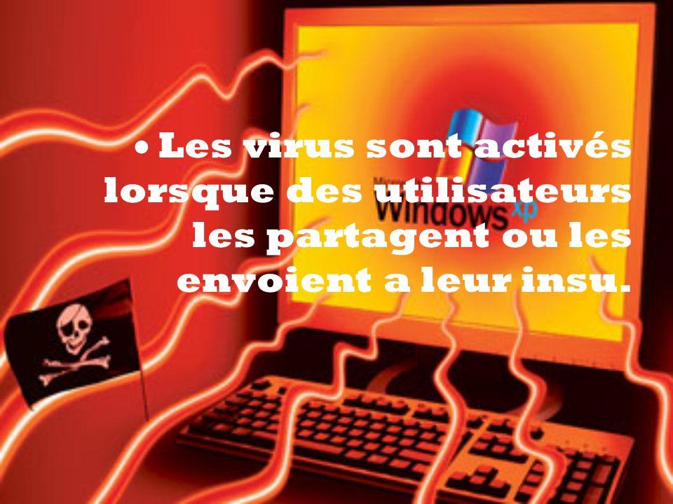 Les virus sont activés lorsque des utilisateurs les partagent ou les envoient a leur insu.