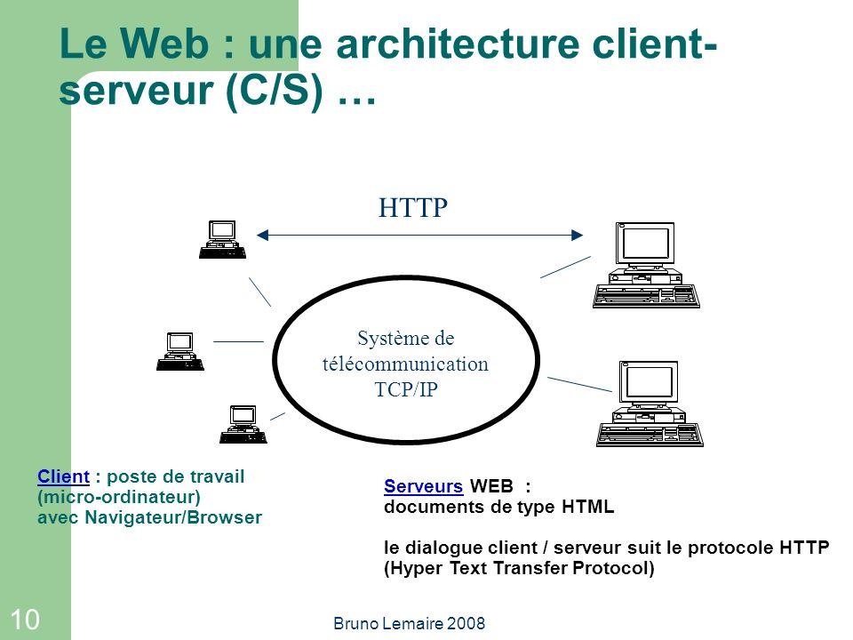 Le Web : une architecture client-serveur (C/S) …