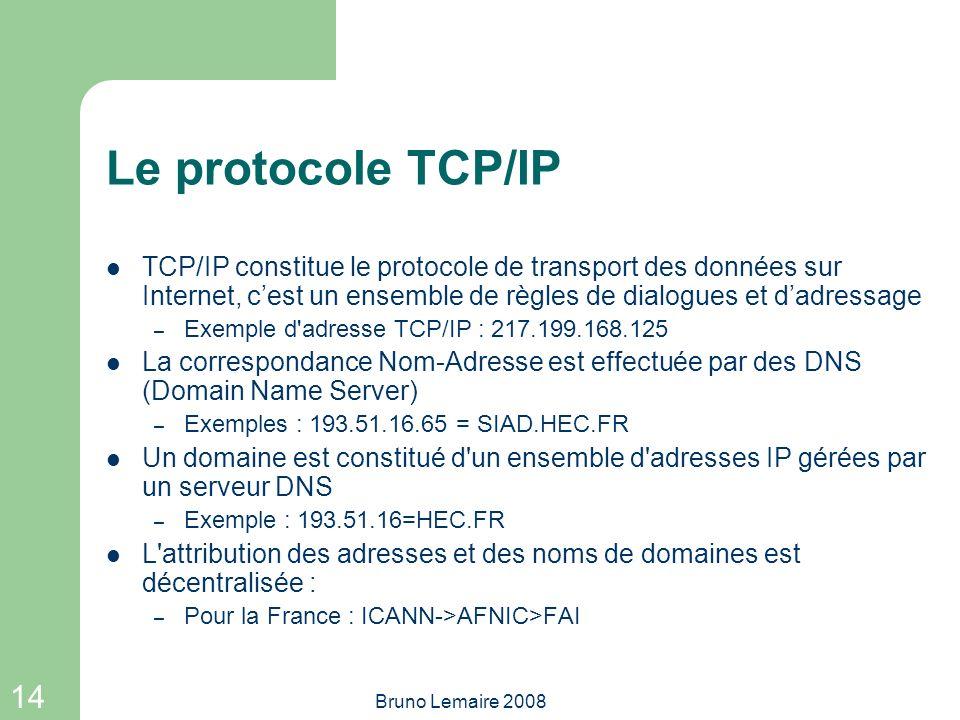 Le protocole TCP/IP TCP/IP constitue le protocole de transport des données sur Internet, c'est un ensemble de règles de dialogues et d'adressage.