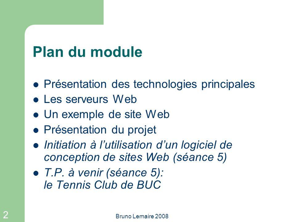 Plan du module Présentation des technologies principales