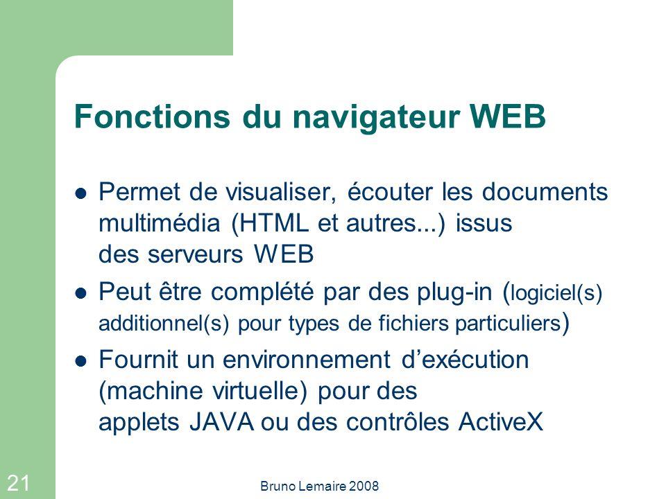 Fonctions du navigateur WEB