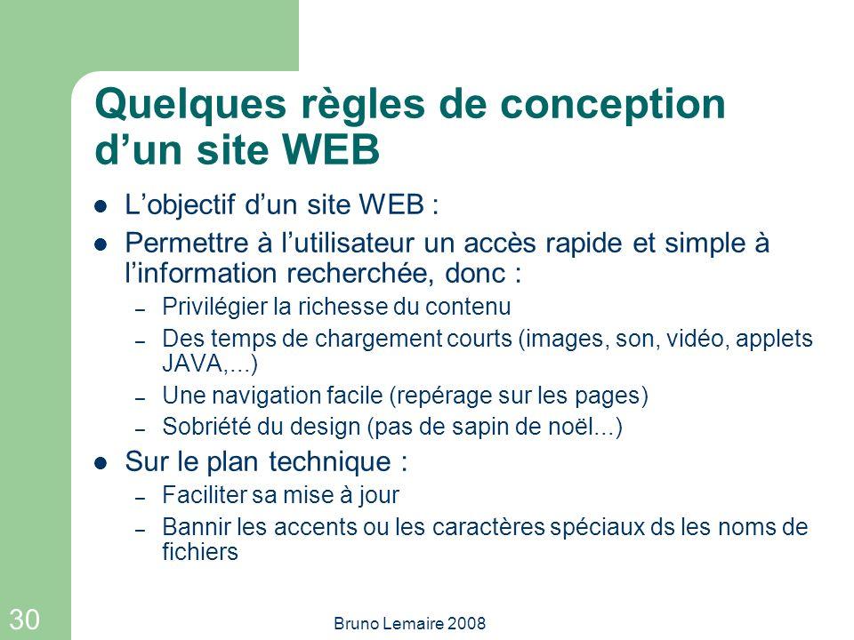 Quelques règles de conception d'un site WEB