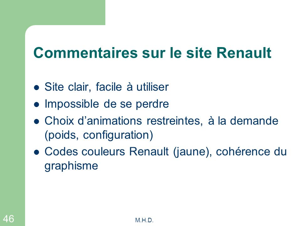 Commentaires sur le site Renault