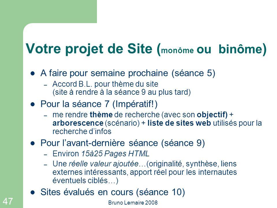 Votre projet de Site (monôme ou binôme)