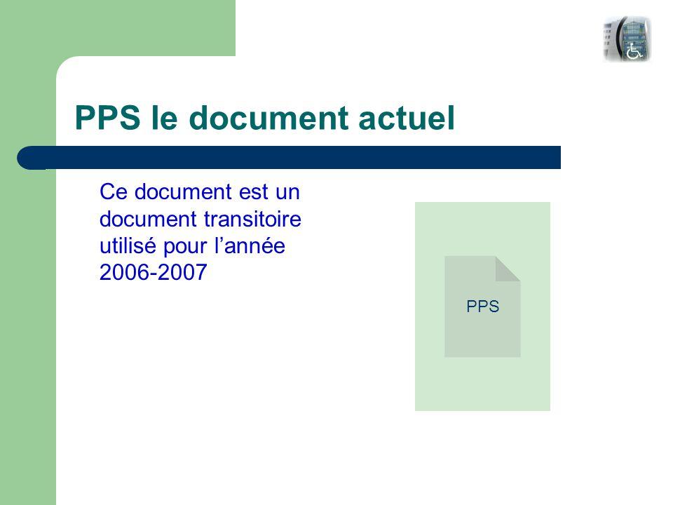 PPS le document actuel Ce document est un document transitoire utilisé pour l'année 2006-2007 PPS