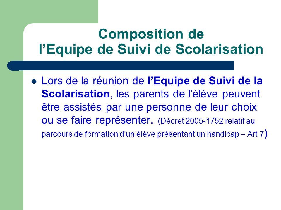 Composition de l'Equipe de Suivi de Scolarisation