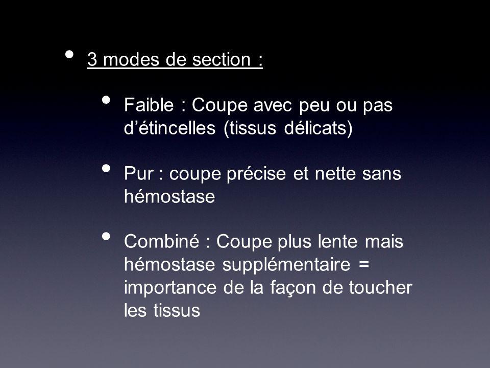 3 modes de section :Faible : Coupe avec peu ou pas d'étincelles (tissus délicats) Pur : coupe précise et nette sans hémostase.