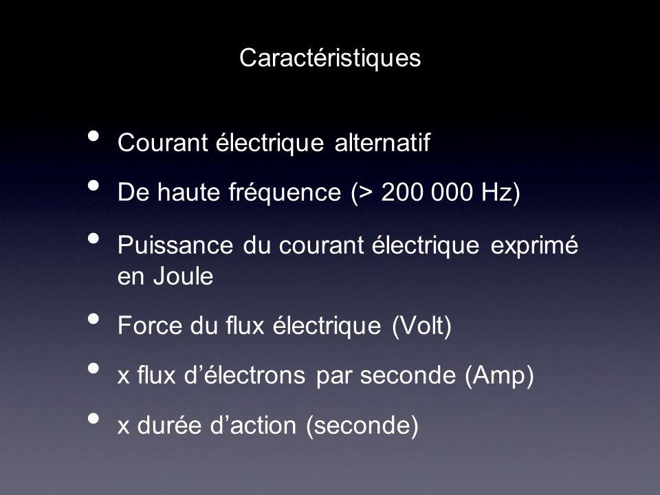 Caractéristiques Courant électrique alternatif. De haute fréquence (> 200 000 Hz) Puissance du courant électrique exprimé en Joule.