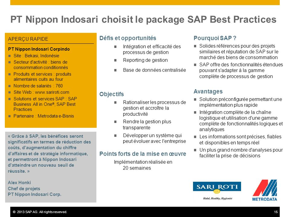 PT Nippon Indosari choisit le package SAP Best Practices