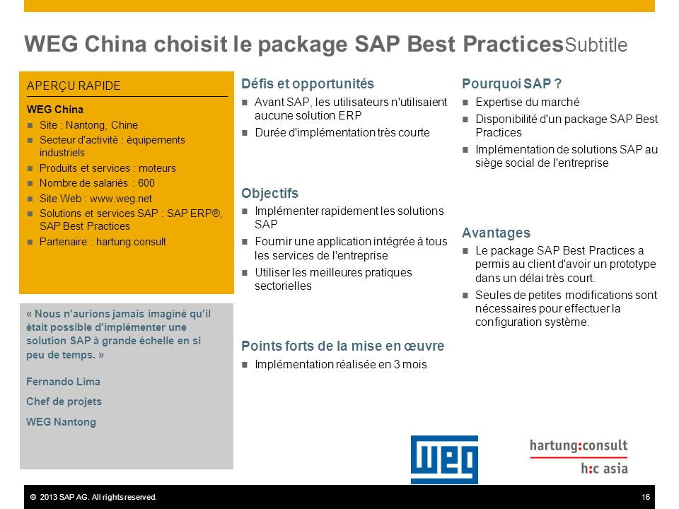 WEG China choisit le package SAP Best PracticesSubtitle