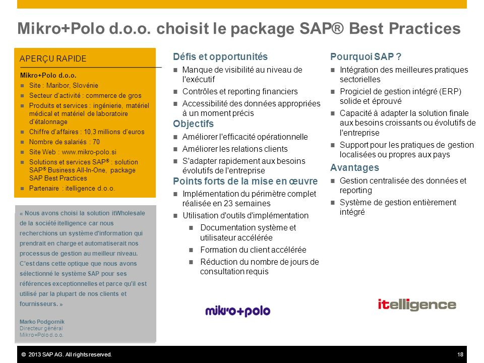 Mikro+Polo d.o.o. choisit le package SAP® Best Practices