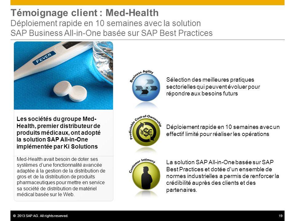 Témoignage client : Med-Health Déploiement rapide en 10 semaines avec la solution SAP Business All-in-One basée sur SAP Best Practices