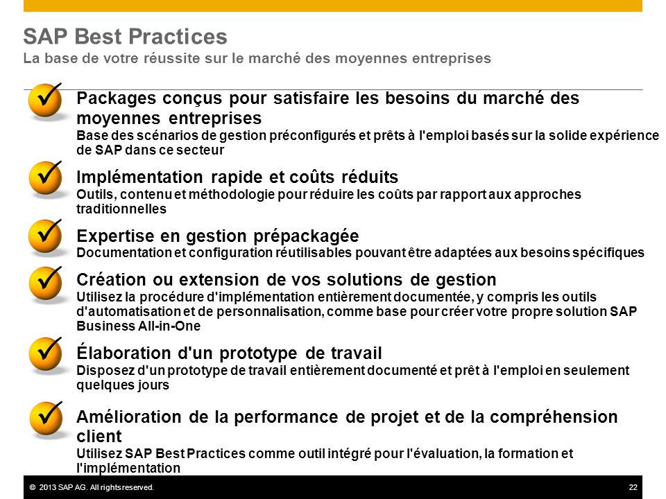 SAP Best Practices La base de votre réussite sur le marché des moyennes entreprises