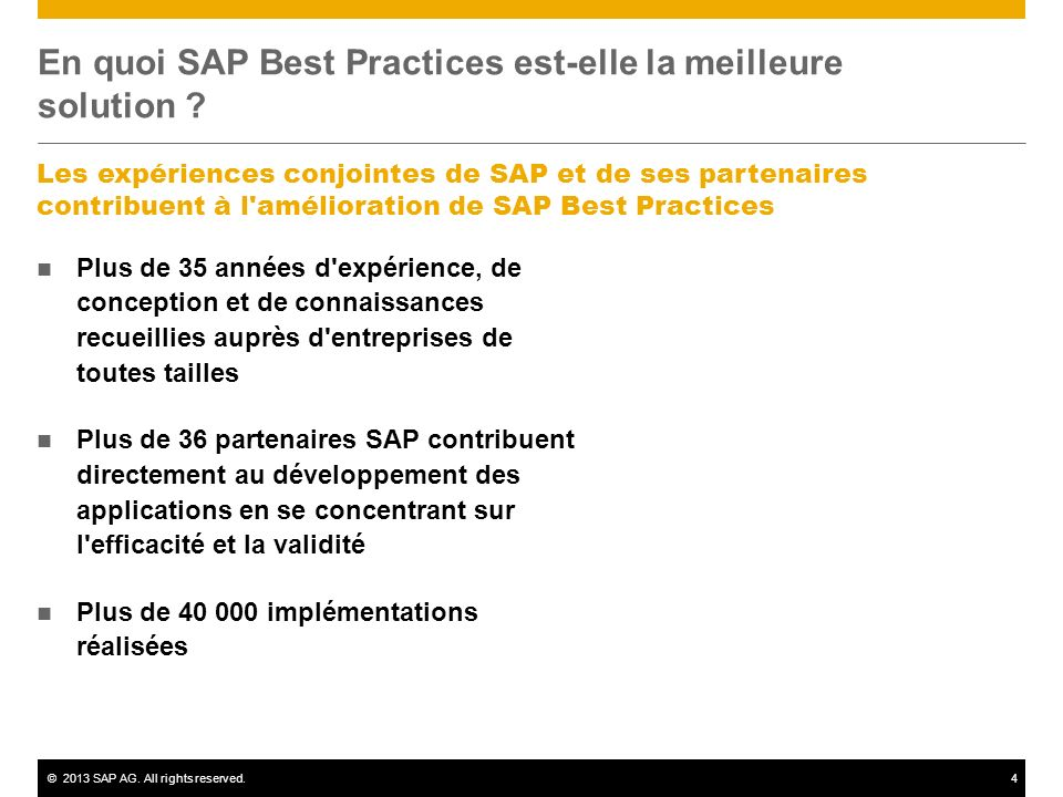 En quoi SAP Best Practices est-elle la meilleure solution