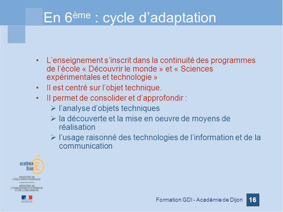 En 6ème : cycle d'adaptation